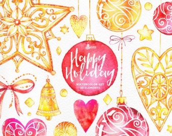 Happy Holiday. 33 Watercolor Elements, hand painted clipart, gold, tree toys, stars, bell, christmas, new year, greeting card, diy, heart