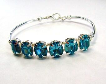Aqua rhinestone bracelet / blue crystal bracelet / March birthstone / girlfriend gift / bridesmaid jewelry / unique bracelet / gift for her