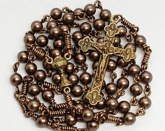Men's Women's Five-way Holy Communion Velvet Brown Swarovski Pearls Rosary Handmade Catholic Gifts