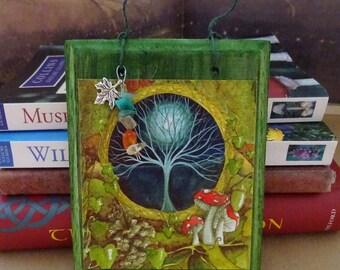 Gateway ~  Hanging Wooden Gemstone Art Plaque