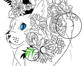 Blank cat colouring page