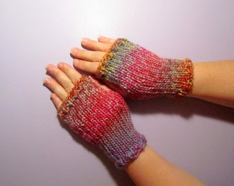 Fingerless Gloves - Pink and Purple Mix Hand Knit Fingerless Gloves