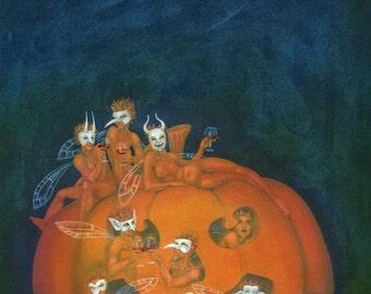 "Fairy art, orignal painting in gouache / watercolour: ""October Masquerade"" -  Halloween / pumpkin fairies by Nancy Farmer (unframed)"