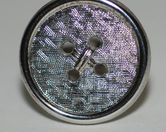 1950s-'60s era Modernist Sterling Silver Walter E Hayward Button Form Cuff Links-- Free USA Shipping!