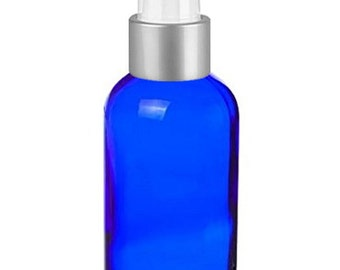 Cobalt Glass 4 Oz Spray Bottles - Set of 4 Blue Glass Spray Bottles with Brushed Silver Sprayer Tops - Use For Essential Oils and More
