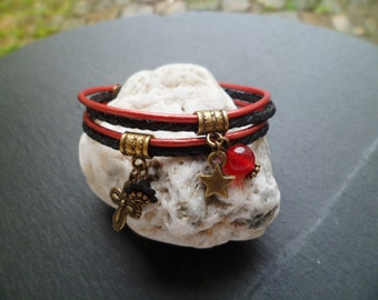 Bracelet leather 2 tones black and Red
