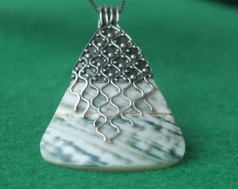 Vintage Large Sterling Silver Sea shell and mother of pearl pendant / necklace