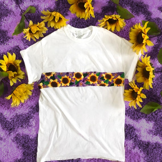 Embroidered Sunflower T Shirt Floral Embroidery Purple And