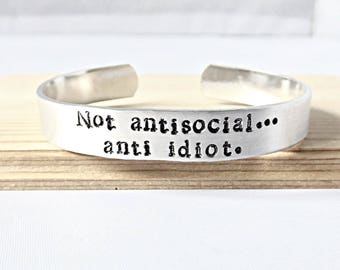 Not Antisocial Anti Idiot, Quote Bracelet, Sherlock Jewelry, Funny Best Friend Gift, Sherlock Holmes, Cumberbatch, Coworker Gift Under 20
