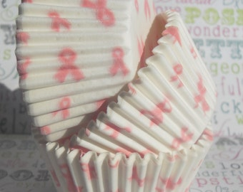 Pink Ribbon Breast Cancer Awareness Designer Cupcake Liners, Pink Ribbon Baking Cups, Grease proof - 60 Count