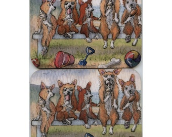 2 x Welsh Corgi dog coasters - eating icecream by the seaside taking a break from building sandcastles bucket and spade Susan Alison