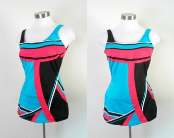 Vintage Mod Colorblocked Swimsuit 1960s New With Tags Size Large One Piece Bathing Suit