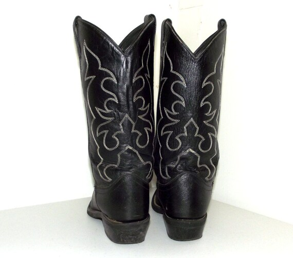 Leather 5 Rockin' Black 10 size or size 9 cowboy D cowgirl boots qPHxPw5Ud7