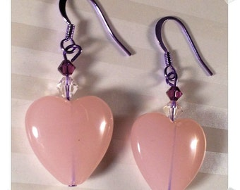 Your Next Grape Love--Pink Hearts Purple ColorSparx Earrings with Clear and Purple Swarovski Crystals on Shiny Purple Metal