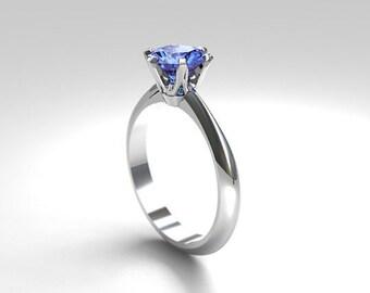cornflower Blue sapphire engagement ring, Platinum ring, solitaire engagement, unique, blue wedding, sapphire engagement, light blue