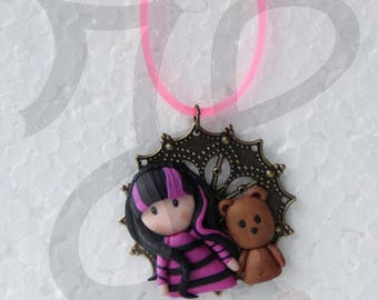 Copper stainless steel pendant with doll and teddy bear