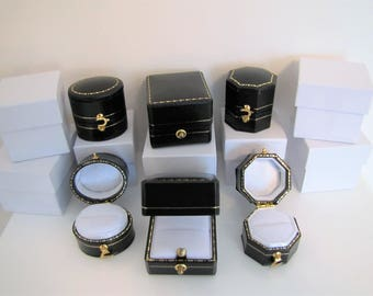 Antique Victorian Style Ring Bearer Box. MADE IN ENGLAND. Oval, Octagon, Square Luxury Ring Boxes. Fiance Girlfriend Groom Presentation Gift