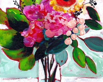 Wall Decor - July's Flowers - Home Decor - Flower Art - Large 24x30 Print - Poster - Floral - Bright - Magenta - Still Life