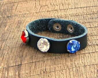Leather Red White Blue Swarovski Crystal Bracelet helps provide service dogs to military veterans soldiers USA United States America black