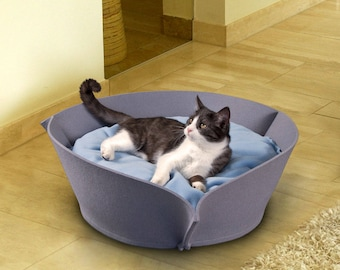 Cat Basket Nook in felt 70 x 70 x 70 cm, cat bed with pillow, cat bed design