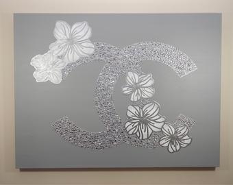 Chanel Painting, 40x30, Chanel Flowers, CC Art, Chanel Inspired Artwork, Rhinestone, Interior Decorating, Flower Artwork