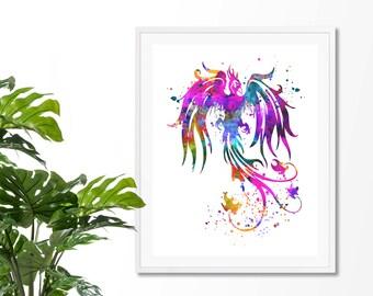 Phoenix Bird #2 Watercolor Fine Art Print, Poster, Wall Art, Home Decor, Kids Wall Art,Play Room Wall Art, Nursery Wall Art, Archival print