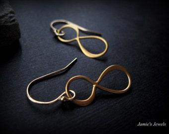 Gold Infinity Earrings -  Tiny Gold Infinity Earrings - Modern Gold Earrings - Gold Minimal Earrings