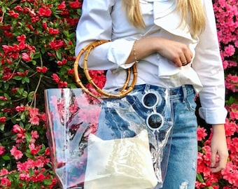 Large Clear Tote - Bamboo Handles - Clear Purse - Stadium Approved Tote - Game Day Bag - SAX B Bags