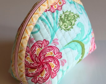 Handmade Dumpling pouch - fabric - quilted - turquoise green red yellow - flowers