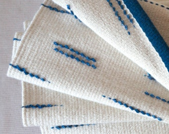 "Handwoven wool rug in white & blue with textured loop detail, ""Bump"" rug - MADE TO ORDER"