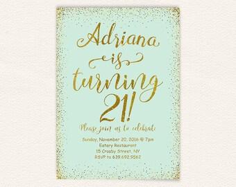 Mint and gold glitter birthday party invitation for women, 21st birthday invitations, printable jpg digital file 5x7 19