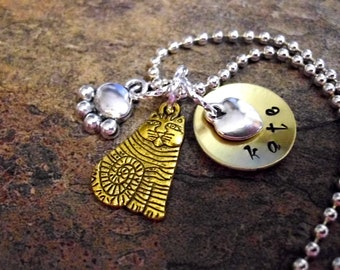 Personalized Jewelry, Cat Necklace, Charm Jewelry, Cat Jewelry, Kitty Jewelry, Animal Jewelry