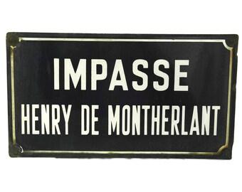 French Vintage Street Sign. Enamel Road Sign. Blue Metal Street Sign. Henry de Montherlant.