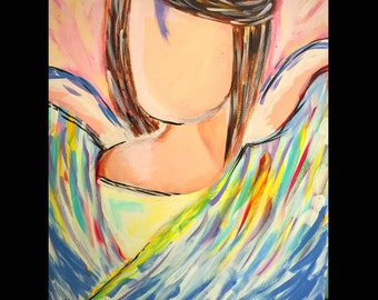 Abstract Angel Painting in acrylic on 16x20 canvas