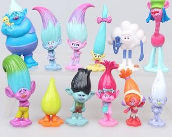 CAKE TOPPER - 12 pcs Trolls Poppy Branch Dj Suki Biggie Cooper Guy Diamond 12 Figure Set Custom Birthday Party Decor DIY Figurines