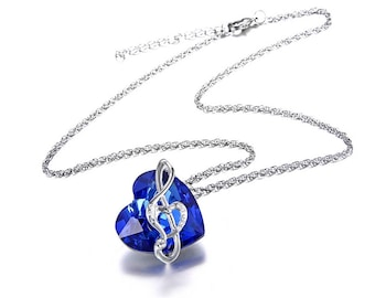 Blue Heart Crystal Music Note Necklace