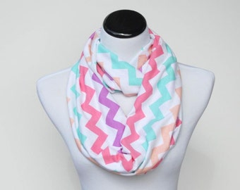 Pastel rainbow scarf, chevron infinity scarf peach purple pink aqua green jersey knit scarf, loop scarf gift for women and teen girls