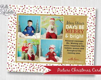 Personalized Red and Gold Multiple Picture Christmas Card - Digital File You Print