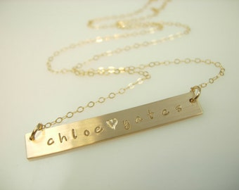 Nameplate Necklace - Bar Necklace - Personalized Jewelry - Engraved Bar Necklace - Hand Stamped Necklace