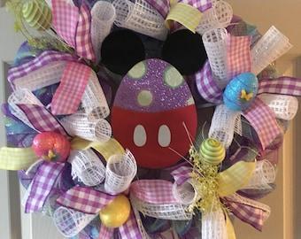 Lighted Easter wreath, Easter decor , Disney wreath, disney easter ,Spring Wreath, spring decor, Easter Wreath , pre-lit easter wreath