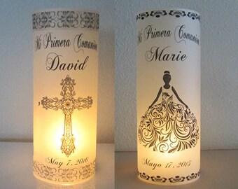 12 Personalized First Communion, Primera Comunion, Confirmacion Centerpiece Table Decoration Luminaries