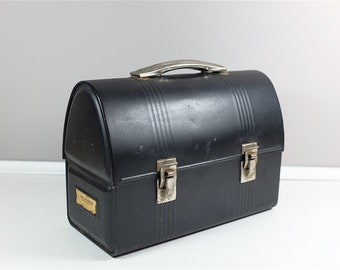 Vintage Black Metal Lunch Box -  Metal Lunch Kit from the 40' - Metal dome top lunch box - Industrial black metal lunch box