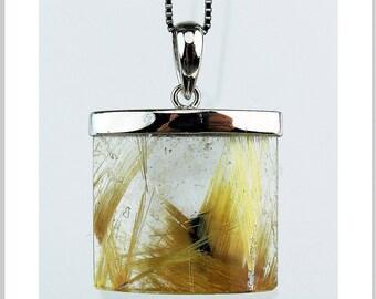 EP010201) Gold Rutilated Quartz Pendant, 925 Silver, Navette Tube Shape