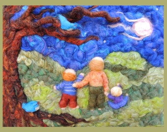 Printed Note Card - My Brothers in Moonlight -image from soft sculpture fairy standing figure by Rebecca Varon Nushkie Design