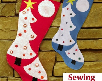 NEW | Christmas Stocking Sewing Pattern | Christmas tree | PDF sewing pattern | Do it yourself Tutorial | 2 sizes | Instant download