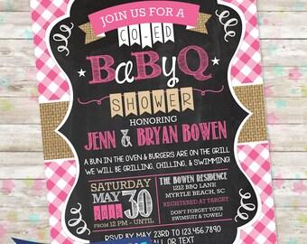 BBQ Baby Shower Invite, BabyQ Shower, Printable Baby Shower Invite, Backyard Baby Shower, Baby Girl, Pink, bun in the oven, burlap invite