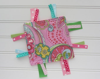 Pink Paisley Baby Girl Crinkle Toy, Baby Girl Ribbon Crinkle Toy, Sensory Ribbon Toy, Soft Baby Toy, First Toy for Babies