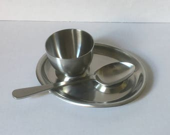 Old Hall Egg Cup, Spoon rest and Spoon, Stainless Steel, Made in England, Vintage Retro