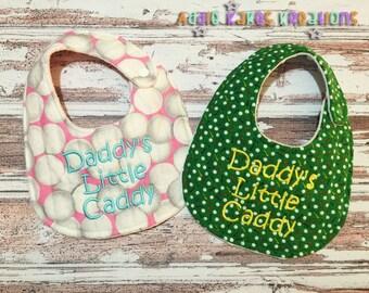Handmade Daddy's Little Caddy Golf Baby Bib / Girl or Boy