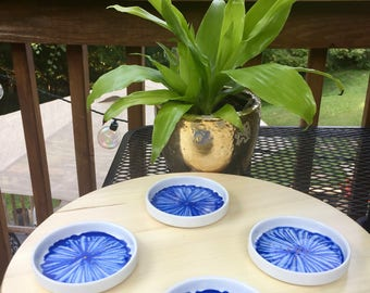 Blue Orchid Coaster Set